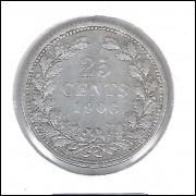 Holanda 25 Cents 1906 Prata .640 - 3,5g - 19mm