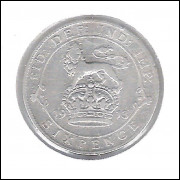 Inglaterra 6 Pence 1913 Prata .925 3g 19mm George V