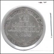 Alemanha Prússia 1 1/2 Silber Groschen 1850 A Prata 21mm