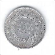 1865 - 200 Réis, prata, Soberba, Brasil-Império, Dom Pedro II.