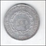 1853 - 500 Réis,  prata, mbc, Brasil-Império, Dom Pedro II.