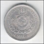 1884 - Brasil-Império, Dom Pedro II, 100 Réis, cuproníquel, mbc.