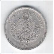 1888 - Brasil-Império, Dom Pedro II, 100 Réis, cuproníquel, mbc.