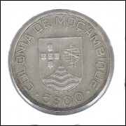 Moçambique (Colônia), 5 Escudos, 1935, prata .650, soberba.