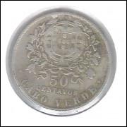 Cabo Verde (Colônia), 50 Centavos, 1930, cuproníquel, mbc.