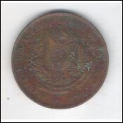1900 - Brasil, 20 Réis, bronze, mbc/s