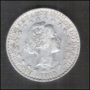 1913 - 2000 Réis, estrelas soltas, prata, mbc/s, Brasil-República.