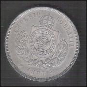 1887 - Brasil-Império, Dom Pedro II, 200 Réis, cuproníquel, soberba.