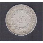 1865 - 500 Réis,  prata, mbc, Brasil-Império, Dom Pedro II.