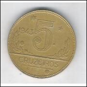 1943 - 5 Cruzeiros, bronze-alumínio, soberba.