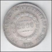 1856 - 2000 Réis, prata, mbc, Brasil-Império, Dom Pedro II.