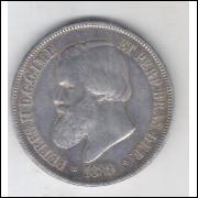 1889 - 2000 Réis, prata, mbc, Brasil-Império, Dom Pedro II.