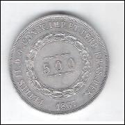 1867 - 500 Réis,  prata, FC, Brasil-Império, Dom Pedro II.