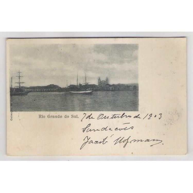 rs01 - Cartão postal circulado em 1908, Rio Grande do Sul. Embarcações, veleiros.