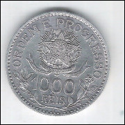 1913 - 1000 Réis, estrelas soltas, prata, S/FC, Brasil-República.