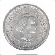1912 - 1000 Réis, estrelas ligadas, prata, S/FC, Brasil-República.