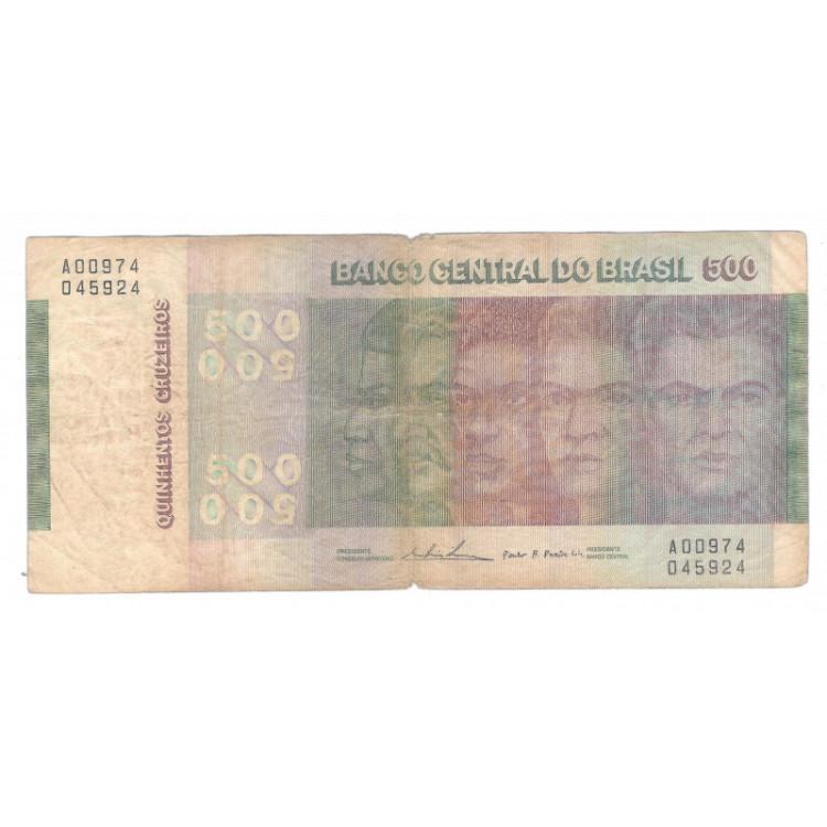 C149 - 500 Cruzeiros, 1974, bc, Série A00974,  Mário Henrique Simonsen e Paulo H. P. Lira.