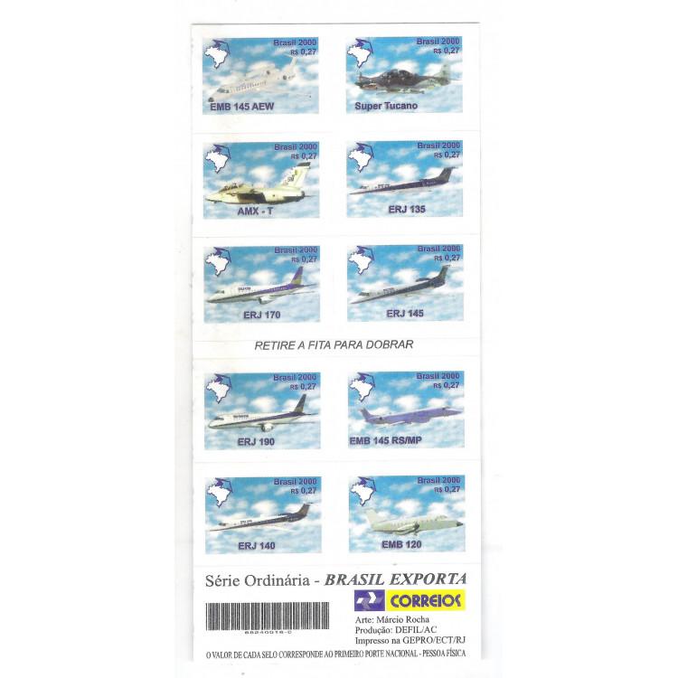 CD25 Caderneta 2000 Brasil exporta aviões.