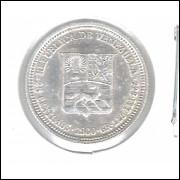 Venezuela 25 Centimos 1960 Prata .835 1,25g - 16mm Soberba Bolivar