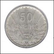Uruguai 50 Centesimos 1943 Prata .700 Soberba 7g - 24mm