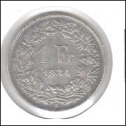 Suíça 1 Franc 1934 Prata .835 Mbc 5g - 23mm