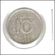 Suécia (sverige) 10 Ore 1959 Prata .400 1,4g 15mm Mbc