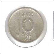 Suécia (sverige) 10 Ore 1953 Prata .400 1,4g 15mm Soberba