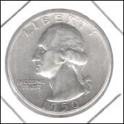 Estados Unidos 1/4 Dollar 1950 D Prata .900 Mbc 24mm