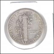 Estados Unidos Dime 1936 Prata .900 Mbc Mercúrio 18mm