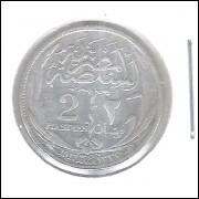Egito 2 Piastres 1917 Mbc/s Prata .833 - 2,8g - 18mm