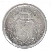 Chipre 9 Piastres 1921 Prata .925 - 5,6g - 23mm Rei Jorge V