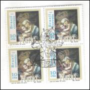 1969 - C-659-CCO - Natal. Religião. Nossa Senhora. Quadra com carimbo comemorativo.