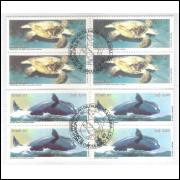 1987 - C-1549/50-CCO - Fauna marinha, tartaruga, baleia. Quadra com carimbo comemorativo.