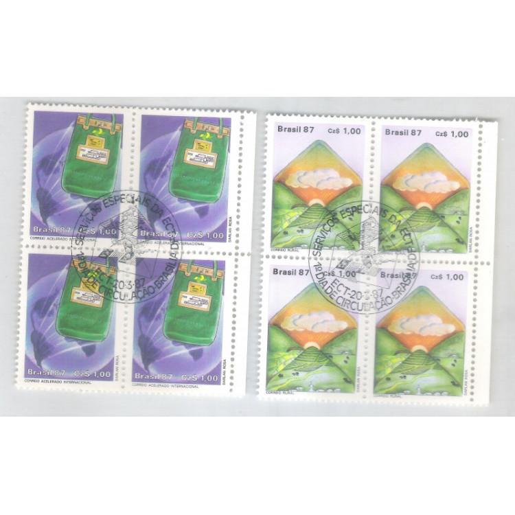 1987 - C-1545/6-CCO - Correios - Serviços Especiais. Quadra com carimbo comemorativo.
