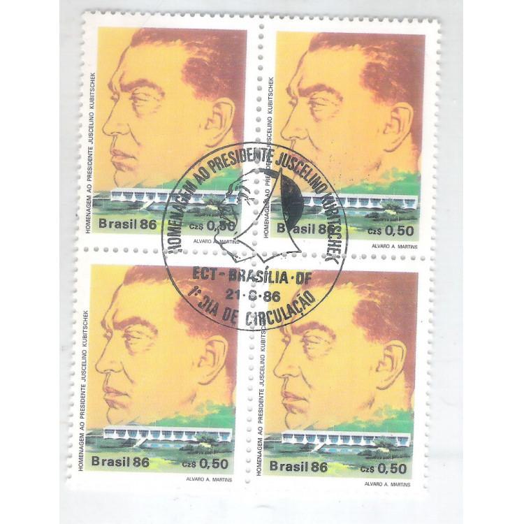 1986 - C-1518-CCO - Presidente Juscelino Kubitschek. Brasília. Quadra carimbo comemorativo