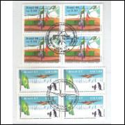 1986/7 - C-1508 e 1544-CCO - Estação Antártica e participação FAB. Quadras carimbo comemorativo