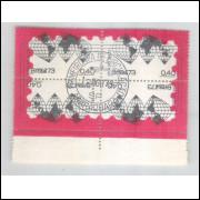 1973 - C-795 -C1oD - Dia do Selo, mapa. Quadra carimbo 1o dia.