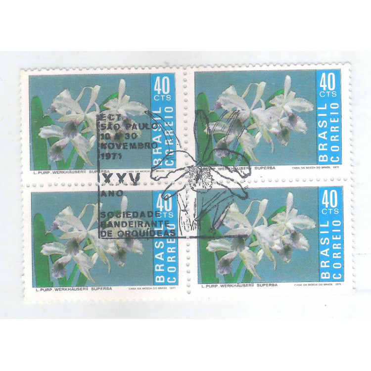 1971 - C-713-CCO - Flora, Orquídea. Quadra com carimbo comemorativo.