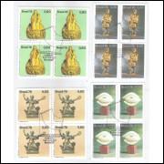 1976 - C-964/7-CCO - Evolução da Escultura no Brasil. Quadras carimbo Comemorativo.