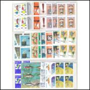 1976 - Coleção Selos Comemorativos em QUADRAS, novos.