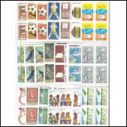 1978 - Coleção Selos Comemorativos em QUADRAS, novos.