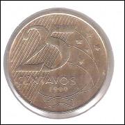 1999 -  25 Centavos, soberba, aço revestido de cobre. Marechal Deodoro da Fonseca.