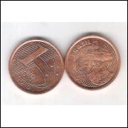 2001 -   1 Centavo, FC, aço revestido de cobre.