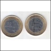 2015 -1 Real, FC, bimetálica, Comemorativa 50 Anos do Banco Central. (aço e aço revestido de cobre).