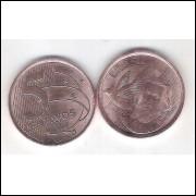 2020 -  5 Centavos, FC, aço revestido de cobre.