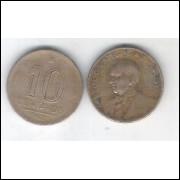 1943 - 10 Centavos, níquel rosa, com sigla, mbc. Getúlio Vargas