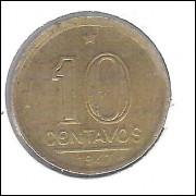 1947 -  10 Centavos, broze alumínio, com sigla, mbc. Getúlio Vargas