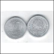 1956 -  10 Centavos, alumínio, FC. Brasão da República.
