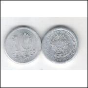 1957 -  10 Centavos, alumínio, FC. Brasão da República.