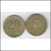 1944 - 20 Centavos, bronze-alumínio, sem sigla, mbc. Getúlio Vargas.